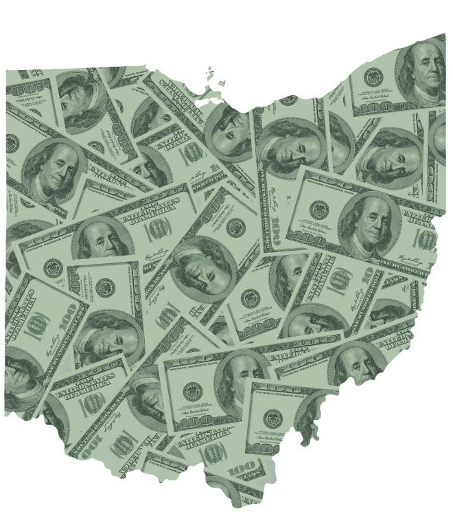 One-hundred dollar bills in the shape of the state of Ohio.