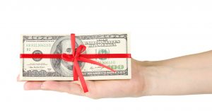 Hundreds of dollars wrapped up in a red ribbon.